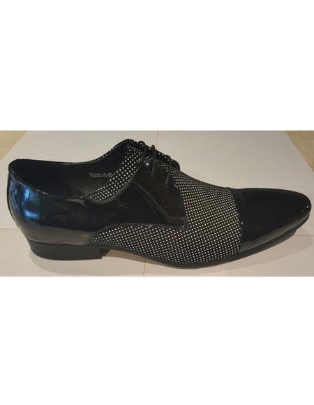 Men's Black Polka Dot Pattern Genuine Leather Lace Up Zota Footwears