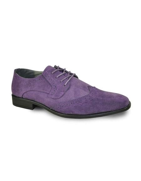Men's Lace Up Tuxedo Suede Velvet Fabric Solid Pattern Shoes Purple