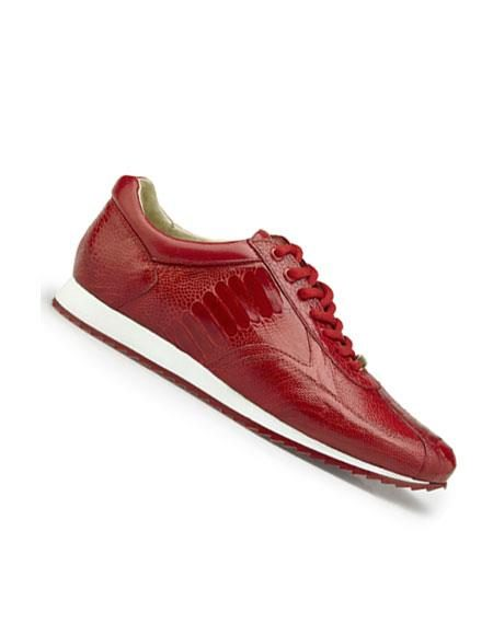 Mens Genuine Ostrich Lace Up Style red Dress Shoes