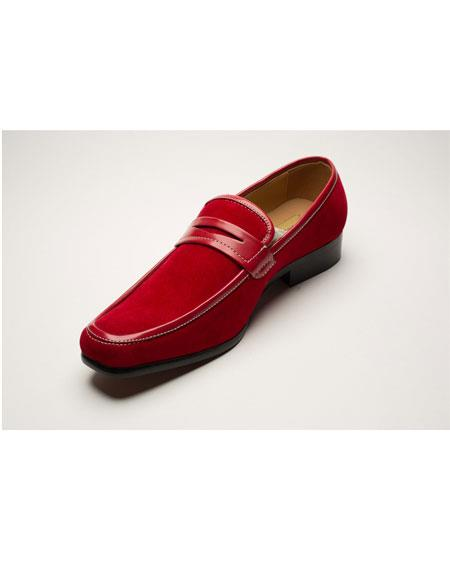 Men's Two Toned Red Slip-On Style Solid Fashionable Shoes