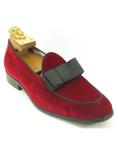 Mens Fashionable Carrucci Genuine Red Velvet / Bow Slip On Shoe