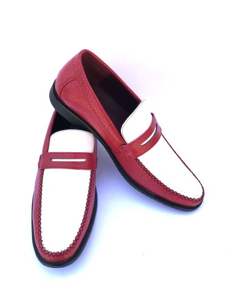 Mens Red And White Dress Oxford Shoes Perfect for Men Slip-On Style Gator Fashionable Two Toned Loafers
