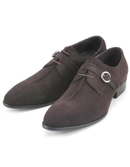 Men's Stylish Brown Suede Strap Oxford Zota Mens Unique Dress Shoes Unique Zota Mens Dress Shoe