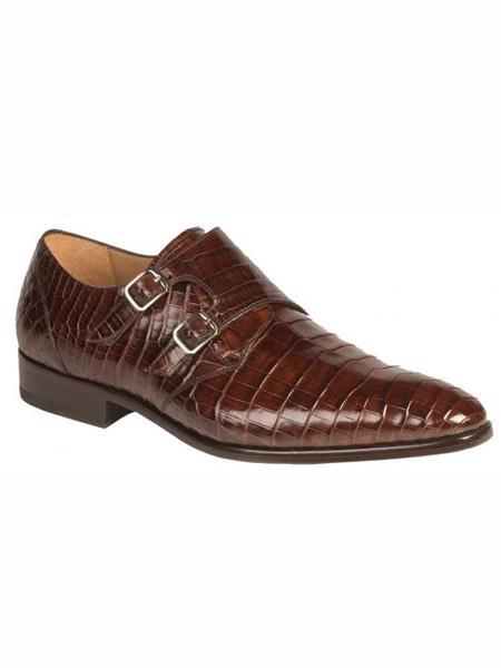 Mezlan Brand Rust Genuine World Best Alligator ~ Gator Skin Double Monk Strap Loafer Shoes