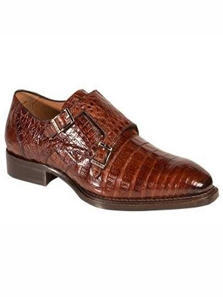 Mezlan Brand Rust Genuine Crocodile Double Monk Strap Shoes