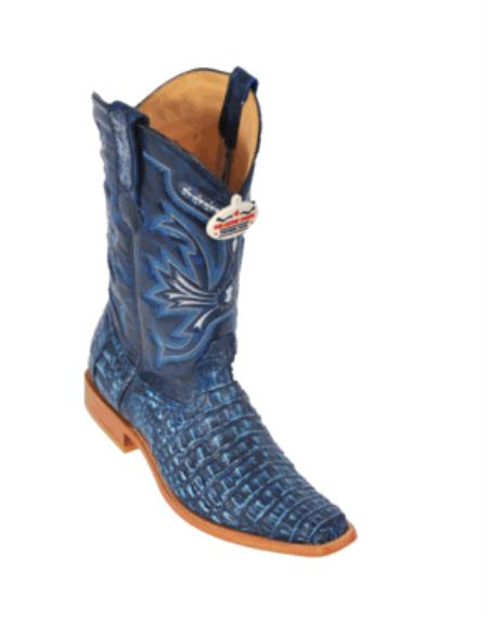 Rustic Blue Smooth Cowboy Boots