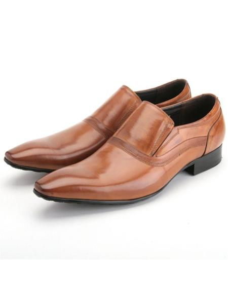 Mens Stylish Rusty Calfskin Genuine Leather Slip-On Zota Mens Unique Dress Shoes Unique Zota Mens Dress Shoe