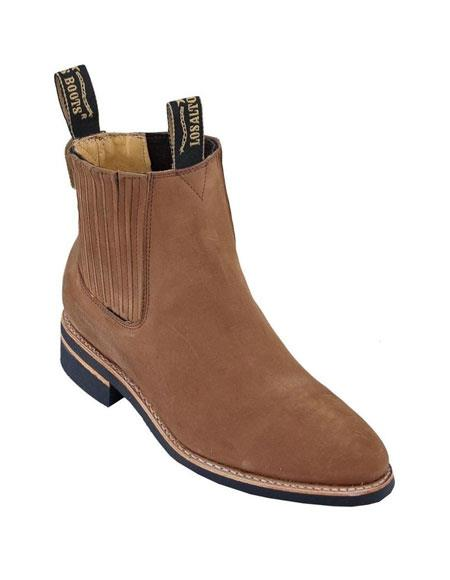 Los Altos Charro Botin Short Ankle Deer Shedron Leather Boot ~ Botines Para Hombre For Men