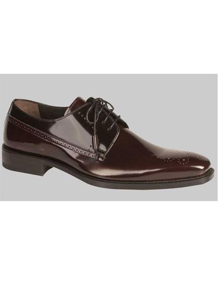 Men's Lace Up Shiny Burgundy ~ Wine ~ Maroon Color Black Oxford Shoes Authentic Mezlan Brand