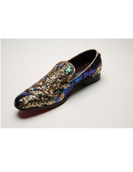 Mens Shiny Slip On Multi Color ~ Brown ~ Gold Dress Glitter ~ Sparkly Shoes