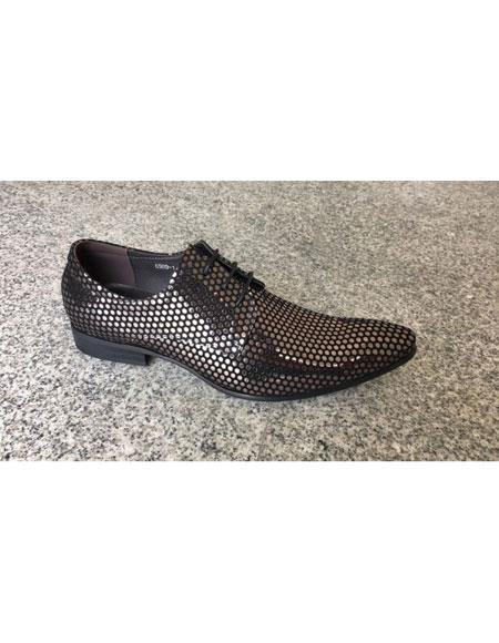 Men's Silver ~ Black Man Made Texture Dot Pattern Lace Up Geniune Leather Footwear