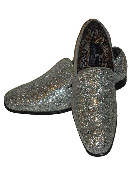 Men's Silver Slip On Style Glitter Dress Loafers Glitter ~ Sparkly Shoes Sequin Shiny Flashy Look