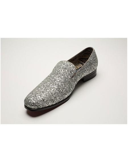 Men's Silver Shiny Slip On Fashionable Glitter ~ Sparkly Shoes Sequin Shiny Flashy Look