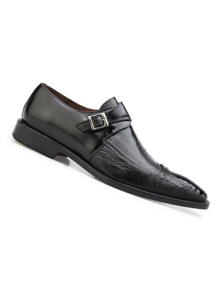 Men's Single Buckle Style Genuine Ostrich And Italian Calf Shoes Black