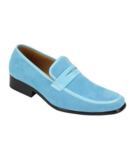 Sky Blue ~ Turquoise ~ Baby Blue Slip-On Casual Dress Loafer Shoes