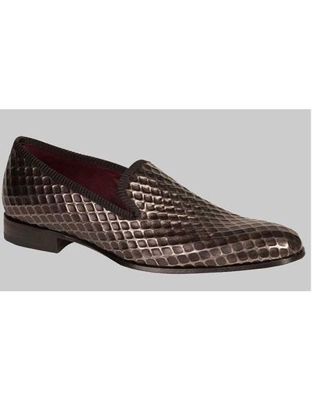 Men's Grey Calfskin Web Style Upper Loafer Shoes Authentic Mezlan Brand
