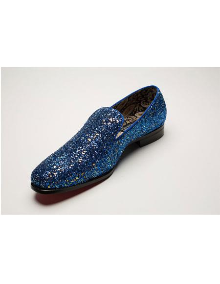 Mens Slip On Blue Shiny Fashionable Loafer Glitter~Sparkly Shoes