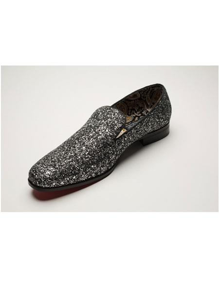 Men's Shiny Fashionable Slip On Black Floral Pattern Gold Dress Glitter ~ Sparkly Shoes Sequin Shiny Flashy Look