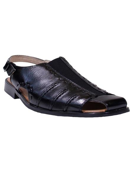 Mens Solid Pattern Black Majestic Closed Toe