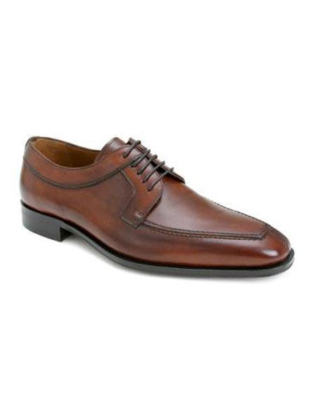 Mens Tan Italian Calfskin Lace Up Split Toe Leather Shoes Authentic Mezlan Brand