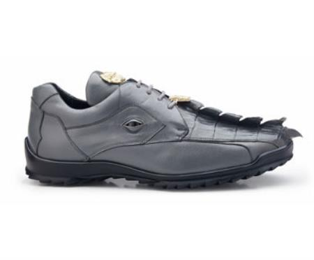 Authentic Belvedere Exotic Skin Brand Genuine Spring Gray Hornback Crocodile and Soft Calf Leather Lining Shoe