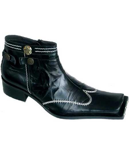 Zota Mens Unique Dress Unique Zota Mens Dress Shoe Brand Men's High Fashion Square Toe Wing Style Black Leather Boots