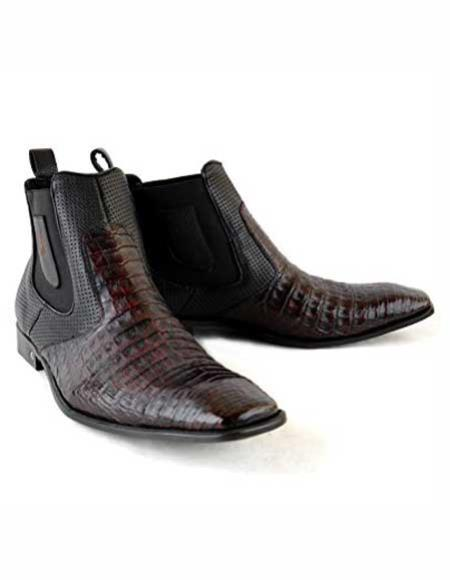Men's Square Toe Black Cherry Leather Original Crocodile Skin Short Boots