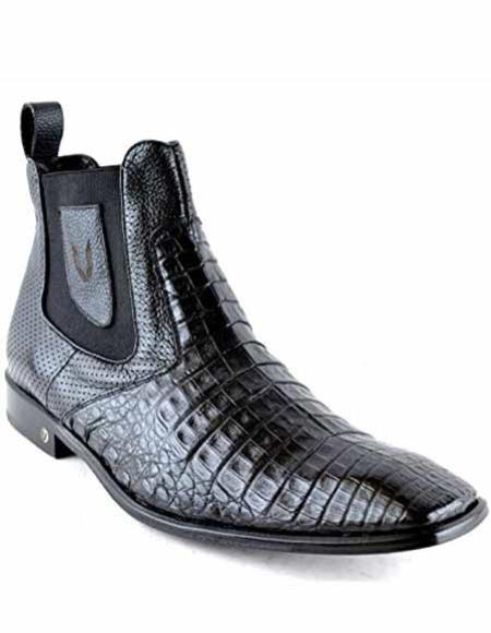 Men's Caiman Belly Skin Leather Square Toe Short Black Boots