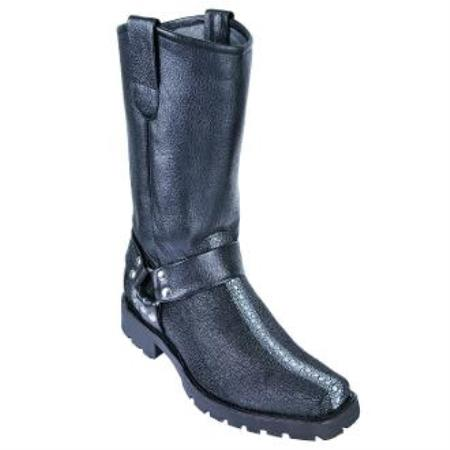 Full Rowstone Stingray mantarraya skin Motorcycle Biker Boots Black
