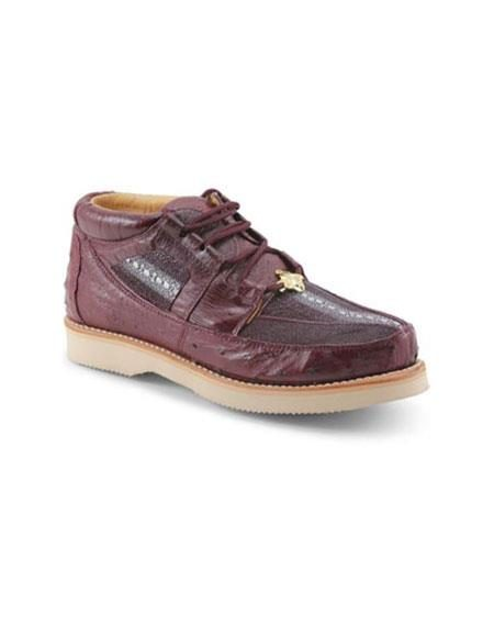 Mens Los Altos Genuine Stingray & Ostrich Four Eyelet Lacing Burgundy Dress Shoe