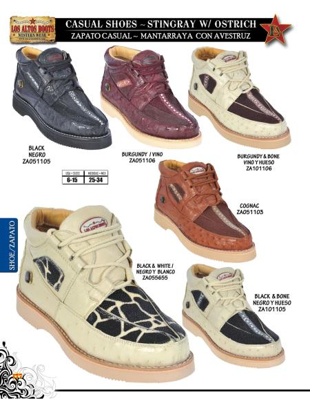 High Top Exotic Skin Sneakers for Men Los Altos Genuine Stingray w/ Ostrich Men's Casual Shoe Diff. Colors/Sizes