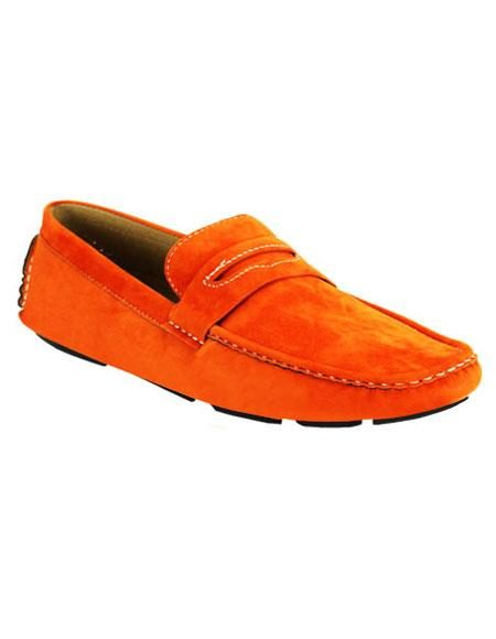 Mens stylish Casual Slip-On Loafer Orange Shoes