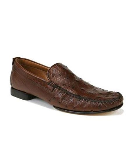 Mens Tabac Ostrich Skin Slip-On Loafers Leather Sole Shoes Authentic Mezlan Brand