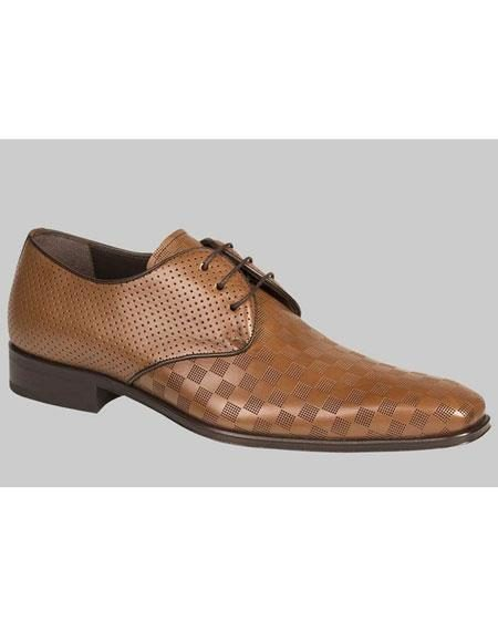 Mens Tan Calfskin Lace Up Checker Pattern Leather Shoes Authentic Mezlan Brand