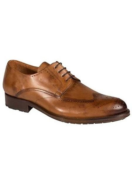 Mens Tan Calfskin Lace Up Wingtip Oxford Leather Shoes Authentic Mezlan Brand
