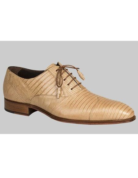 Mens Tan Lace Up Genuine Lizard Wing Style Cap Toe Leather Shoes Authentic Mezlan Brand