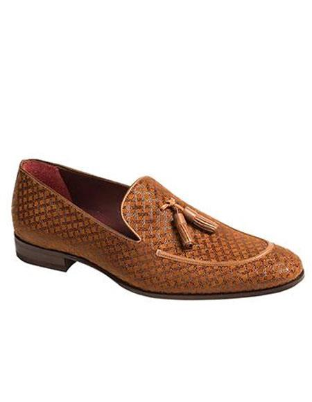 Mens Tan Slip-On Tassle Exotic Finished Textured Suede Loafer Shoes Authentic Mezlan Brand