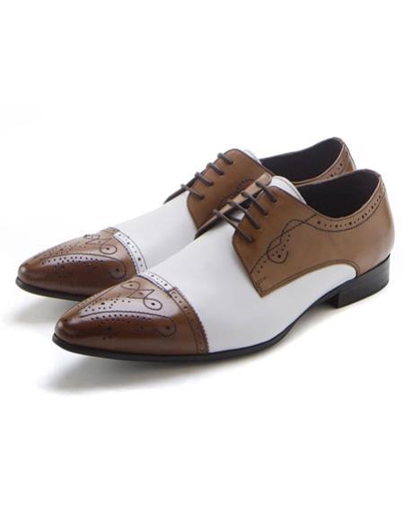 Mens Dress Coat Cognac Rust Copper Color Stylish Tan ~ White Two Toned Lace-Up Zota Mens Unique Dress Shoes Unique Zota Mens Dress Shoe