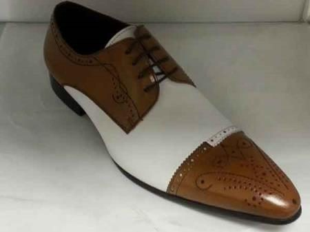 Mens Tan and White leather Lace Up Unique Zota Dress Shoe