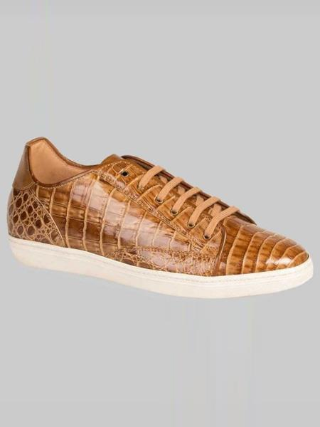 Mezlan Brand Taupe ~ Beige Genuine Crocodile Lace-Up Sneakers