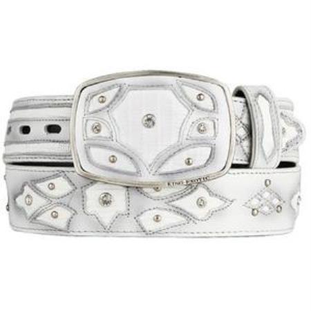Men's White Original Lizard Teju Skin Fashion Western Belt