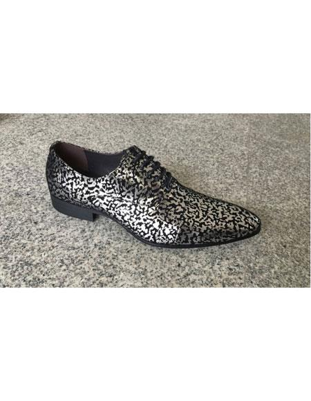 Men's Man Made Texture Pattern Black ~ Silver Lace Up Geniune Leather Footwear