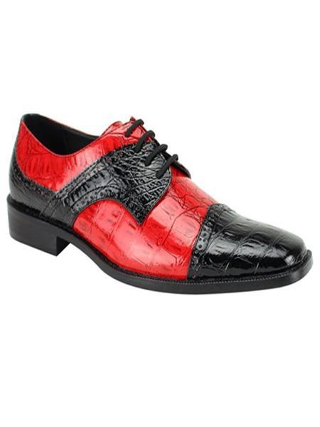 Men's Fashion Two Toned Black/Red Dress Shoe