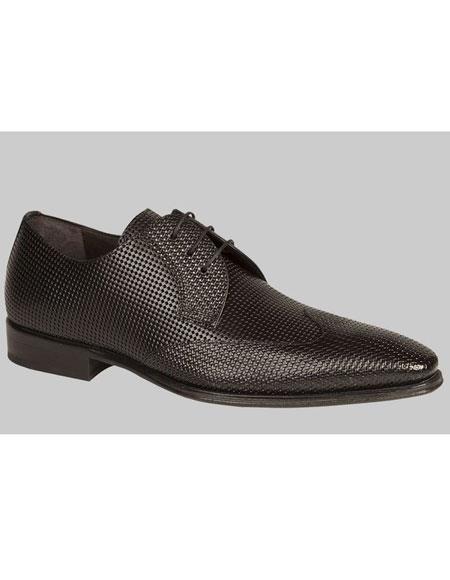 Mens Unique Black Italian Calfskin Wingtip Lace Up Leather Shoes Authentic Mezlan Brand