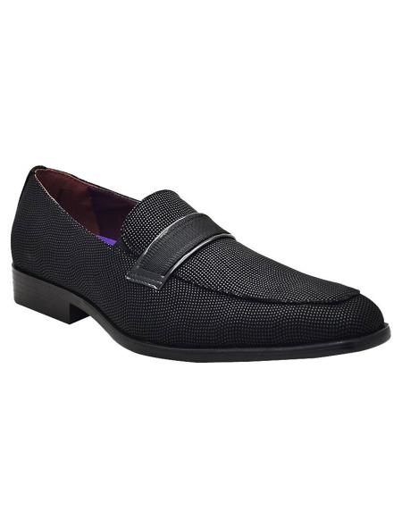 Mens Black Slip On Style Unique Look Smoker Glitter ~ Sparkly Loafers