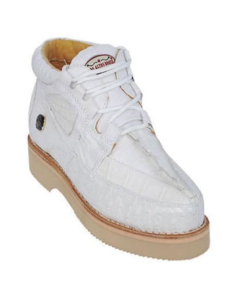 Men's Lace Up White Genuine Crocodile And Ostrich Los Altos Shoes