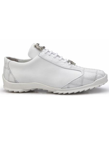 Men's Belvedere Paulo White Genuine Ostrich / Soft Calfskin Casual Sneakers