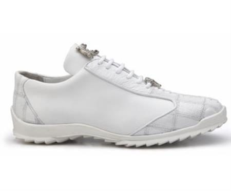 Mens White Ostrich and Soft Calf Leather Lining Oxford Shoes