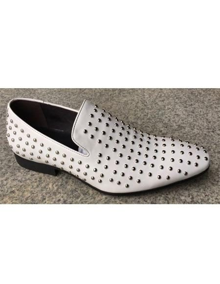 Mens White Premium Soft leather Two Toned Dress Shoe