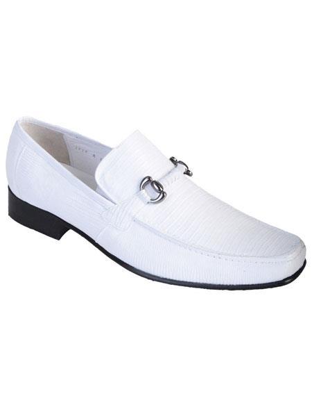 Men's White Genuine Teju Lizard Slip On Loafer Los Altos Shoes